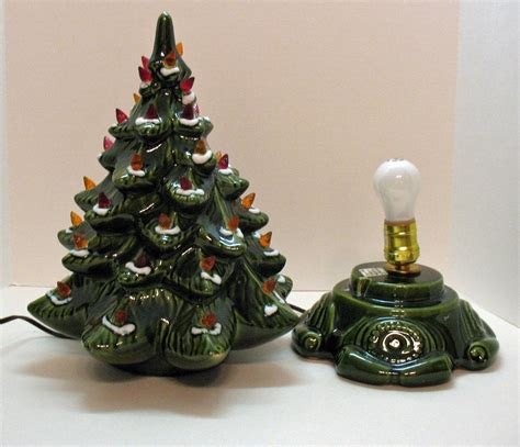 small lit base christmas tree small vintage ceramic tree light up base faux plastic lights from teesantiqueorchard