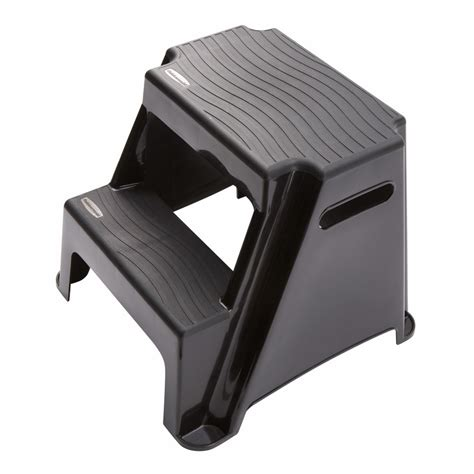 Rubbermaid Folding Step Stool Lowes by Shop Rubbermaid 2 Step 300 Lb Load Capacity Black Plastic