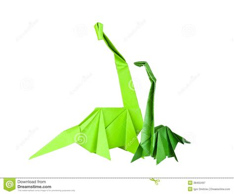 Paper Folding Figures - origami paper figures of dinosaurs royalty free stock