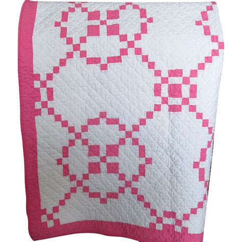 Patchwork Quilt Pink - vintage patchwork pink and white quilt from turtlecreek on