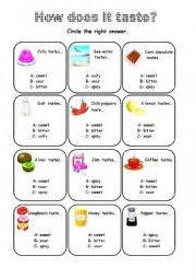 english worksheets how does it taste