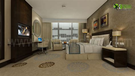 modern hotel bedroom interior 3d rendering photorealistic cgi design firms by yantram animation studio