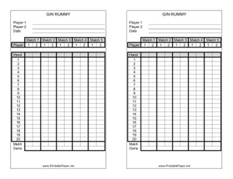 bowls score cards template printable gin rummy score sheet