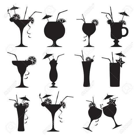 mixed drink clipart black and white cocktail clipart 79