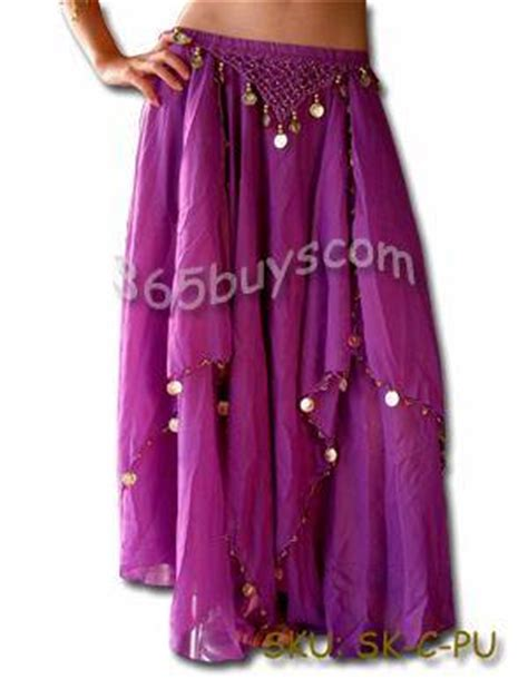 Gc G3000 Gold Purple Leather chiffon belly skirt costume gold coins id 3143121