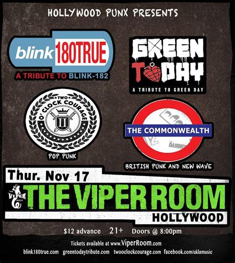 viper room calendar tix on sale now green day blink182 tributes at the viper room on nov 17th green today a