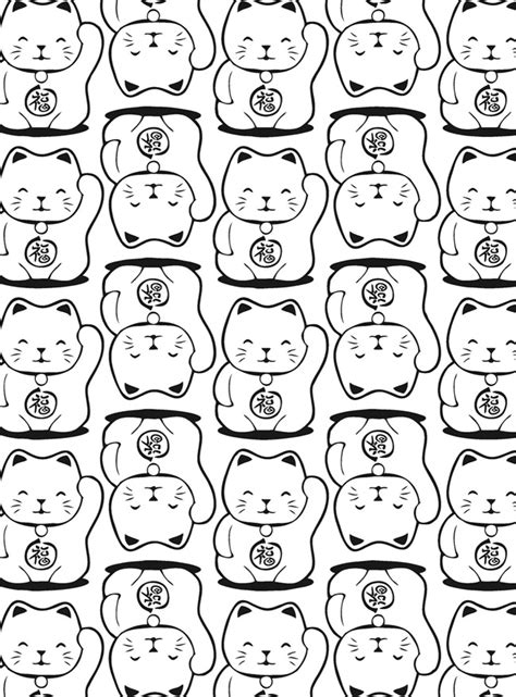 lucky cat coloring page maneki neko lucky cat coloring book by arkady roytman