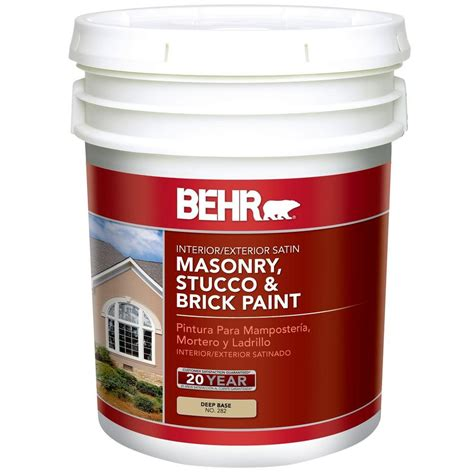 home depot 5 gallon interior paint behr 5 gal deep base satin masonry stucco and brick