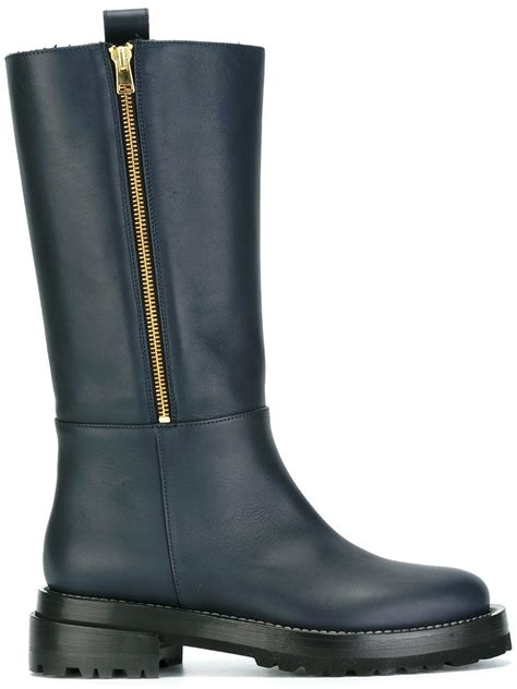 tall biker boots lyst marni tall leather biker boots in blue