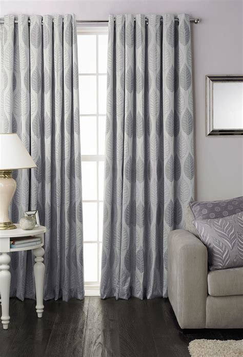 lined cotton curtains silver leaf leaves cotton blend lined ring top curtains drapes 7 sizes ebay
