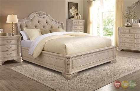 Sleigh Bed Headboards by Renaissance Carved Grey King Sleigh Bed With Upholstered Tufted Headboard