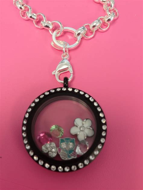 Origami Owl Large Silver Locket With Crystals - origami owl large silver with crystals matte black locket