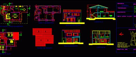 family housing aguirre flat roof dwg plan  autocad