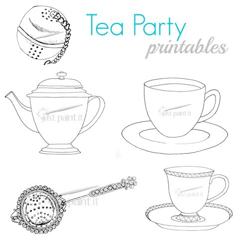 8 Best Images Of Tea Party Printables Tea Party Free Free Printable Tea Cup Coloring Pages