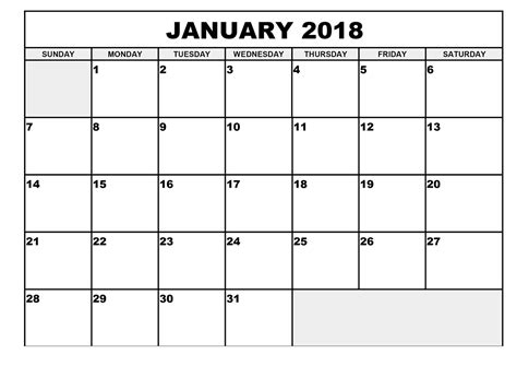 Benin Calendã 2018 Calendar 2018 Monthly 28 Images January 2018 Blank