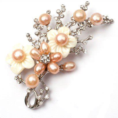 0278a0r South Flowers Pearl Pink carbonado 187 pink pearl white gold plated flower brooch pin 40x70mm