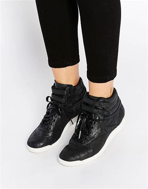 black leather high top sneakers womens comfortable reebok premium leather high top