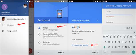 gmail android create new gmail account in mobile android id on phone