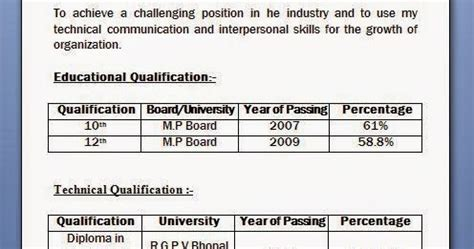 Resume Format Diploma Engineering Mechanical Diploma Resume Format For Freshers