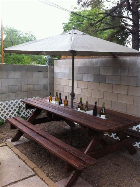 rain gutter cool drink server built   picnic table