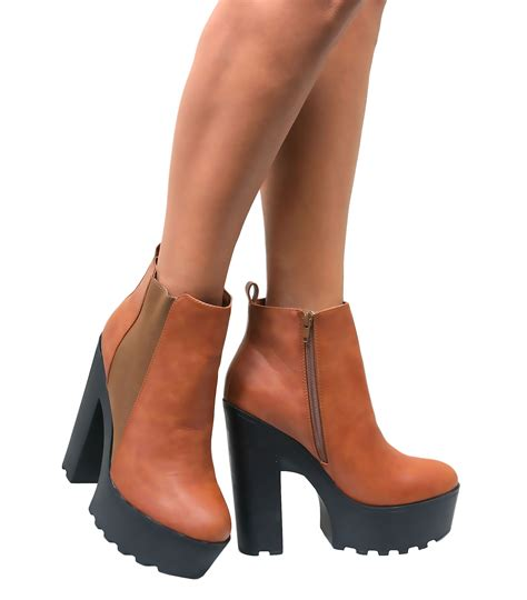 high heel with sole womens chunky cleated tractor sole platform high