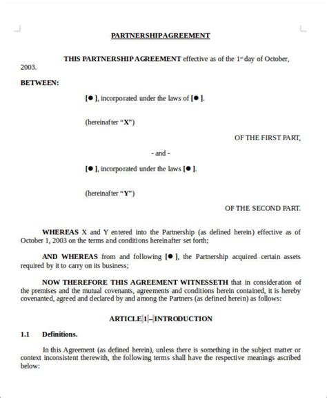 joint venture partnership agreement template 10 sle joint venture agreement free sle exle