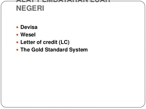 Letter Of Credit Kurs ppt ekonomi moneter