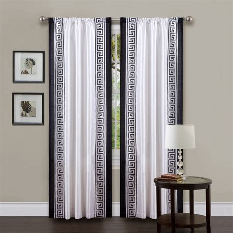 black and white drape lush decor white black 84 inch metropolitan curtain panel