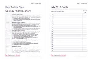 Goal Journal Template by Goals And Priorities Diary Get Organized Wizard