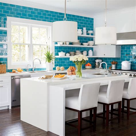 blue kitchen tiles ideas sunken kitchen with island transitional kitchen