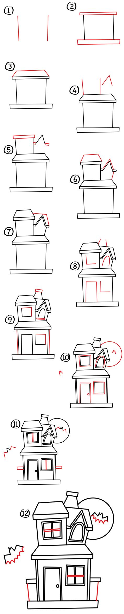 how to draw a haunted house for kids step by step how to draw a haunted house art for kids hub