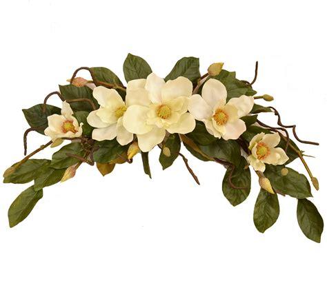 Decorative Floral Arrangements Home Cream Magnolia Swag Wr4786 Floral Home Decor Silk Rose