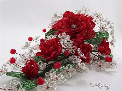 beaded flowers beaded flowers roses bridal bouquet for by