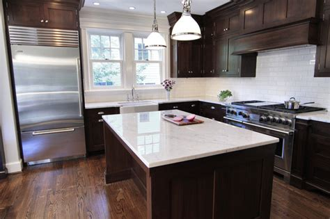 dark espresso kitchen cabinets beveled subway tile traditional kitchen bradford designs
