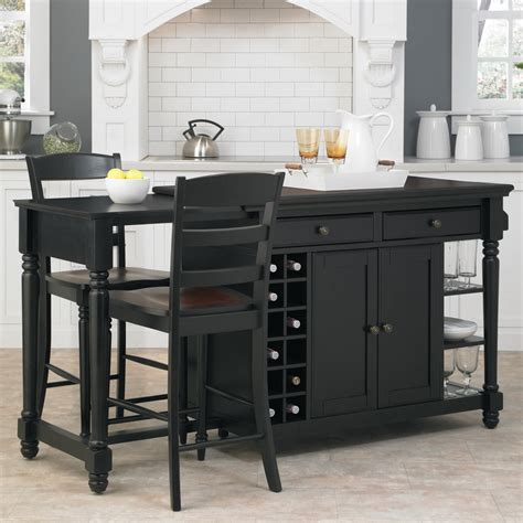 Rolling Kitchen Island With Seating Home Styles Grand Torino 3 Kitchen Island Stools Set Kitchen Islands And Carts At