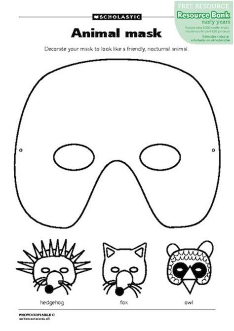 Printable Nocturnal Animal Masks | farm animal masks templates