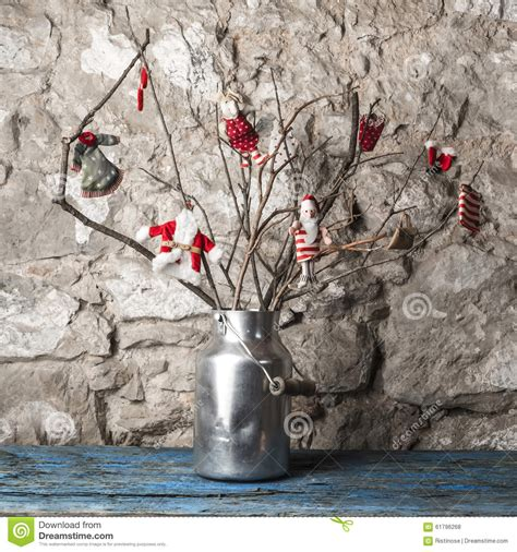 dry sticks decoration drone fly tours christmas rustic tree stock photo image 61796268