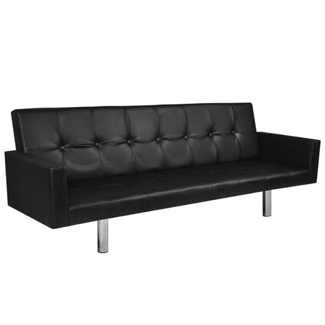 small black leather sofa bed artificial leather sofa bed with armrests black vidaxl com