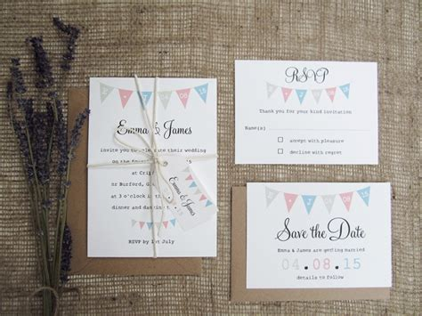 bunting wedding invitations fete bunting wedding stationery suite 187 sj