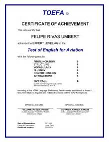 Certification Letter English Proficiency toefa 169 availability