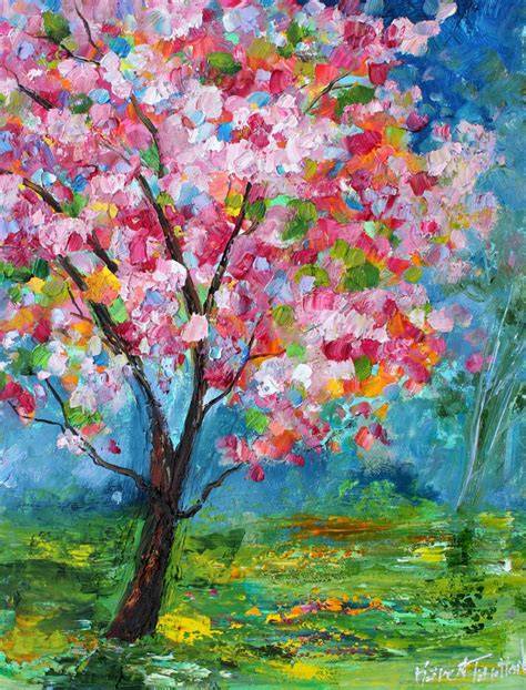 spring paint original oil painting spring tree of life landscape abstract