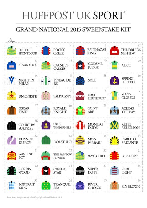 Grand National Sweepstake - print your own grand national sweepstake kit