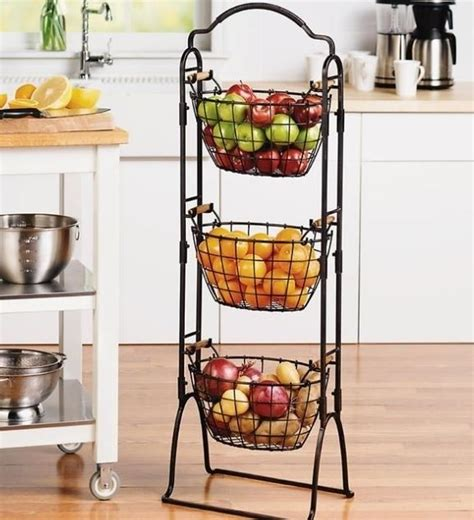 3 Tier Fruit Basket Floor Stand by Fruit Basket 3 Tier Holder Stand Decorative Kitchen Storage Bins Organizer Metal Ebay