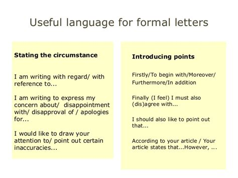 Formal Letter In Useful Phrases Useful Language For Cae Wt Paper Part1