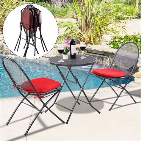 steel mesh patio chairs 3 pcs folding steel mesh outdoor patio table chair garden