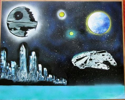 Sprei Starwars by Large Wars Spray Paint Wars Painting