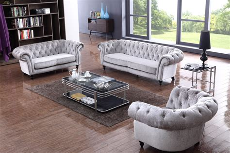 Grey Tufted Sofa Set Divani Casa Alexandrina Grey Tufted Fabric Sofa Set Modern Sofas Living Room