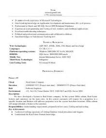 Resume Exles For Experience by Net Experience Resume Sle