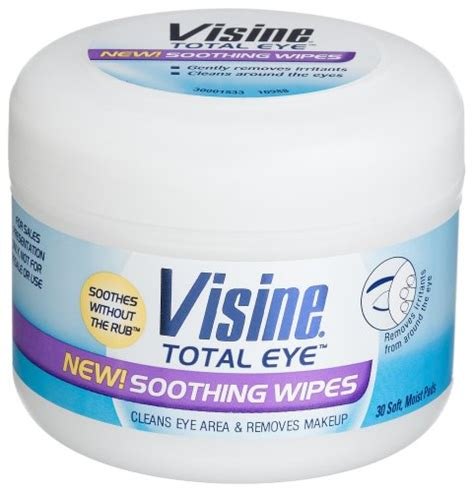 eye wipes visine total eye soothing wipes 30 count plastic tub pack of 6 health point