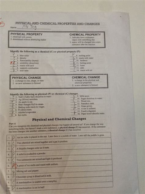 Physical And Chemical Properties Worksheet by Worksheet On Chemical Vs Physical Properties And Changes